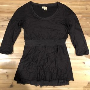 Anthropologie charcoal tulle peplum top